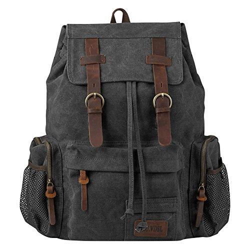 Travel Laptop Backpack, P.KU.VDSL Vintage Backpack Canvas Rucksack for Women Men, Retro School Bookbag Fit 17'' Laptop