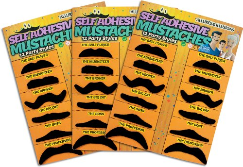 Trademark Innovations 36 Pack Fake Mustache Mustaches Novelty 36pk By Allures & Illusions (Orange)