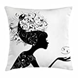 Zodiac Cancer Throw Pillow Cushion Cover, Silhouette of a Girl with Cancer Symbol and Spring Foliage Leaves Hair, Decorative Square Accent Pillow Case, 18 X 18 Inches, Black and White