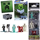 MC23 Diamond Armor Steve Nano Series Minecraft Cart Hot Wheels + Mini Figure Set Iron Golem / Wither Skeleton / Vindicator / Mooshroom 5-Pack Collectibles + Sticker Bundle