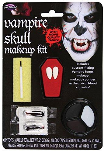 Fun World Unisex-Adult's Skull Vampire Makeup and Fangs Kit, Multi, Standard]()