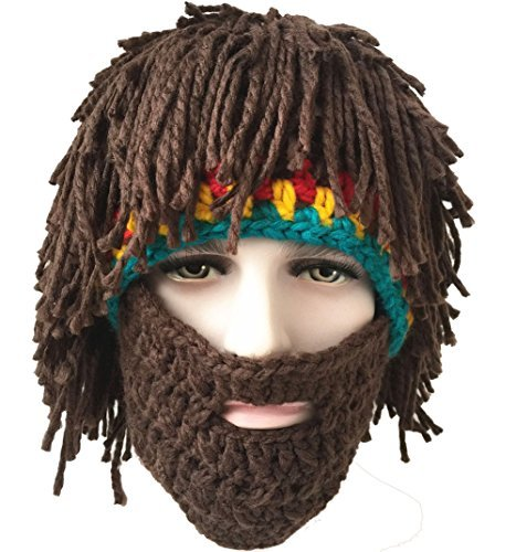 5de535a82d4 Amazon.com  Bestag Wig Beard Hats Hobo Mad Scientist Rasta Caveman Handmade  Knitted Warm Winter Caps Funny Party Mask Hair Beanies (Brown)  Clothing