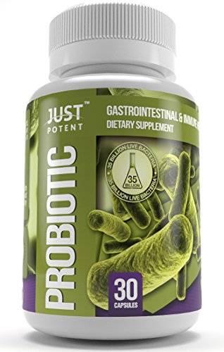Just Potent Probiotic Supplement :: 35 Billion CFUs Per Capsule :: 8 Powerful and Essential Strains :: Shelf Stable For Months :: Survives Stomach Acid :: 30 Veggie Capsules :: Gluten Free :: 0 GMO