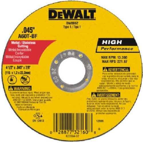 DeWalt DW8062 4-1/2 inch x .045 x 7/8 inch Type 1 Metal Cut Off Wheel - Quantity 200