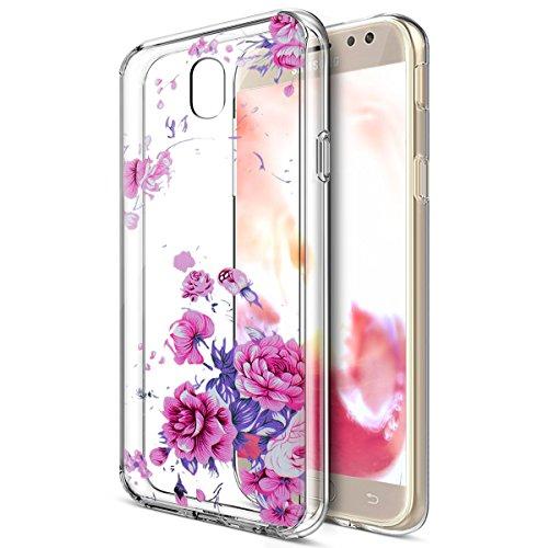 Galaxy J7 Pro Case,ikasus Art Painted Mandala Flowers Crystal Clear Slim Flexible Soft Rubber Gel TPU Protective Bumper Case Cover for Galaxy J7 Pro /J7 2017 J730 (EU edition),Lavender Peony Flower