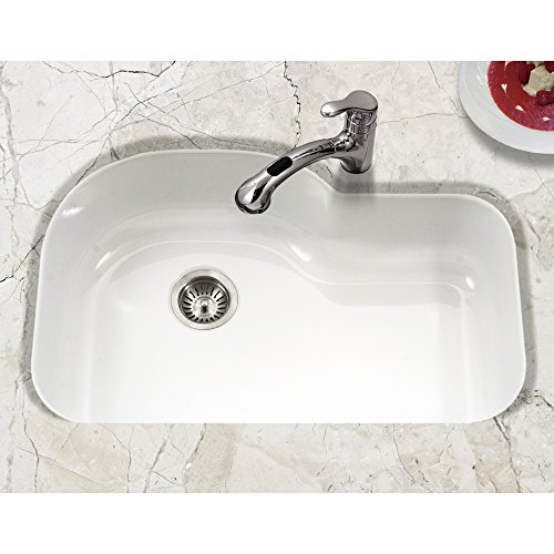 Houzer PCH-3700 WH Porcela Series Porcelain Enamel Steel Undermount Offset Single Bowl Kitchen Sink, White