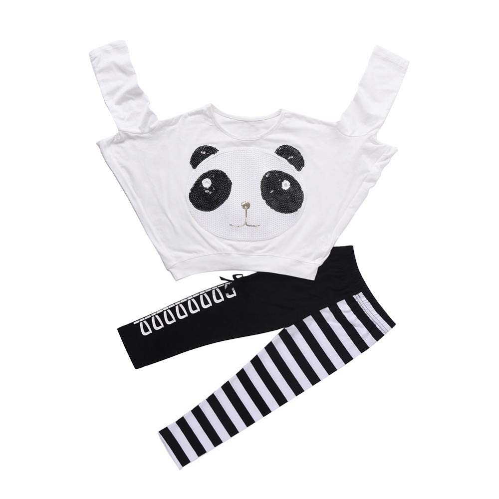 Jchen(TM) Fashion Toddler Kids Little Girls Panda Sequins Tops+Striped Bow Pants Autumn Outfits for 2-7 Y (Age: 4-5 T)