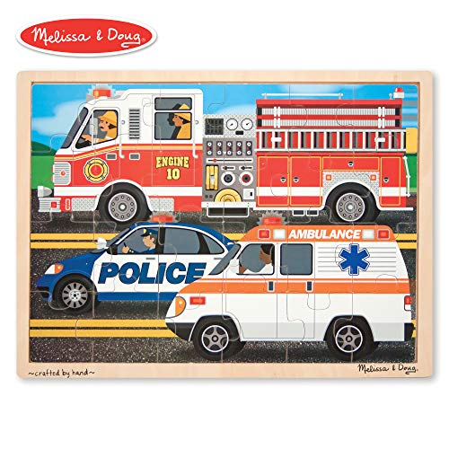 Car Vehicle Puzzle - Melissa & Doug To the Rescue! Wooden Jigsaw Puzzle (24 Pieces)