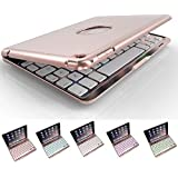 Bluetooth Mini 4 Keyboard Case,elecfan 7 Colors LED Backlit Wireless Keyboard Case Smart Stand Colorful Case for iPad Mini 4 7.9 inch Tablet (iPad Mini 4, Rose Gold)