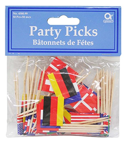 International Flag Picks (asstd designs)    (50/Pkg) (Halloween Parties Nice France)