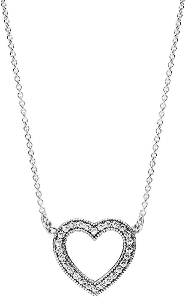Pandora Jewelry - Sparkling Open Heart Necklace in Sterling Silver...