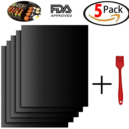 - 5 Pack, Grill Mat 100% Non-Stick BBQ Grill Mats with a Silica gel brush, Heavy Duty BBQ Grill Mats, Reusable, Easy to Clean - Works on Electric Grill Gas Charcoal BBQ - 15.75