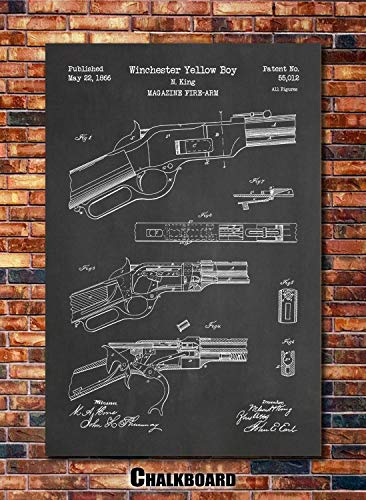 Winchester Yellow Boy Repeating Rifle Patent Print Art 1866 (multiples sizes and colors available)