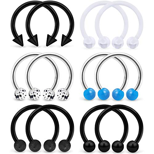 (SCERRING 6 Pairs 16G 10mm Stainless Steel Nose Horseshoe Hoop Rings Eyebrow Lip Ear Tragus Cartilage Daith Septum Retainer Body Piercing Jewelry Retainer Black)