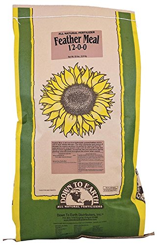 Down to Earth Feather Meal 12-0-0, 50 lb. - for all types of growing plants, shoots, flowers, fruits and vegetables