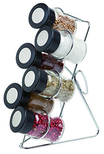Juvale Glass Spice Jars with Vertical Stand Holder, 3oz, 7 Piece Set
