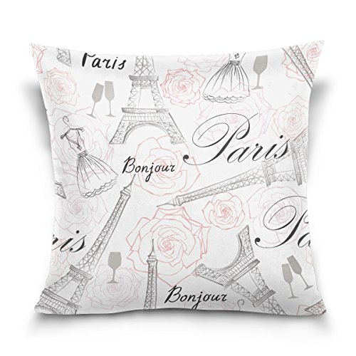 FORMRS Throw Pillow Cover,Paris City Landmark Eiffel Tower Handwritten,Decorative Cotton Lint Cushions18