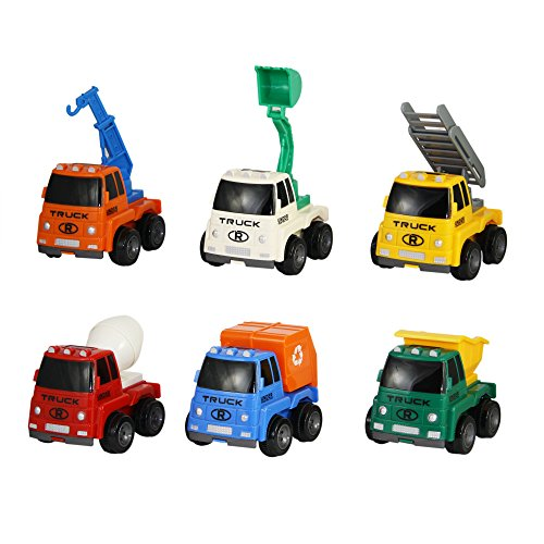 Construction Truck Toys Friction Powered Vehicles Set of 6