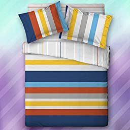 Qbedding Kids\' Series 100% Cotton Duvet Cover + Pillow Sham Set (Lewis Stripe, Twin)