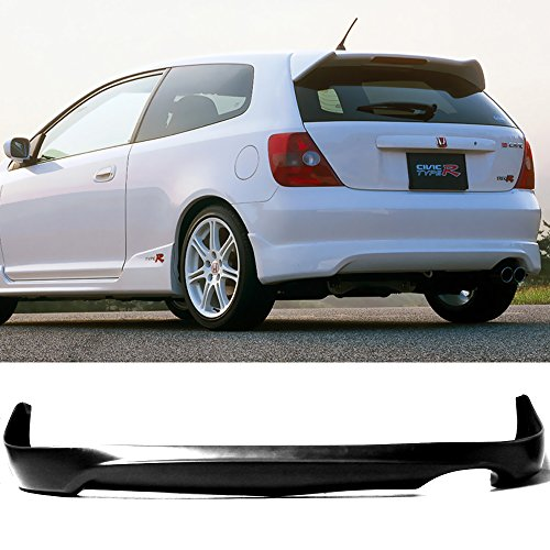Rear Bumper Lip Fits 2002-2005 Honda Civic | TR Black PU Rear Lip Finisher Under Chin Spoiler Underspoiler Splitter Valance Underbody Bumper Fascia Add On by IKON MOTORSPORTS | 2003 2004