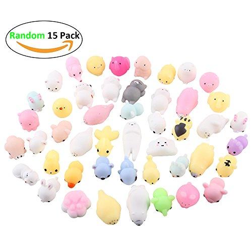 Anboor Random 15 PCS Mini Squishies Kawaii Soft Animal Mochi Squeeze Stress Relief Toys