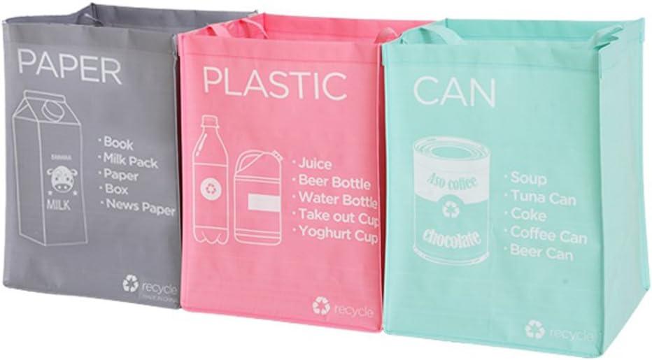 Bolso de basura de plástico reutilizable de NOBRAND PP impermeable, tejido separado, para reciclaje, cestas de basura, contenedor de compartimento para la colada por separado.