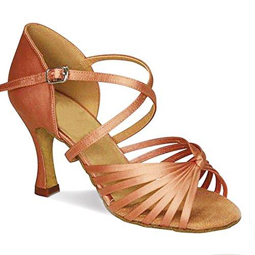 Tda Womens Cinturino Alla Caviglia Comfort Nodo Raso Salsa Tango Ballroom Latino Moderno Scarpe Da Ballo Da Ballo Marrone