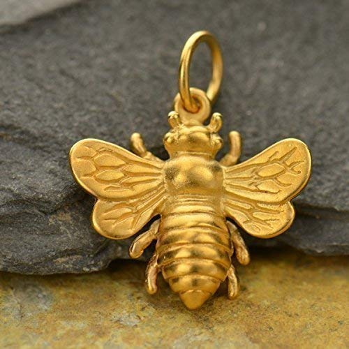 Real Gold Bee Charm 24k Gold Jewelry Great for Earrings Necklace Bracelet Choice of 1/2 or 3/4 Inch Size