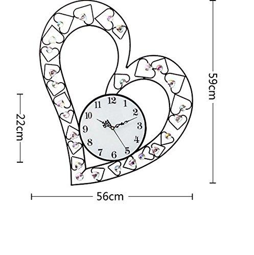RFVBNM Classic european style modern minimalist love Iron Wall Clock Drawing art clock creative Wedding Super silenced 5659cm Clocks