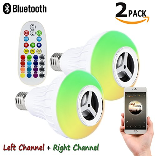 Autai 2 Pack Smart Bulb Light with Left Channel + Right Channel Stereo Bluetooth Speaker and Remote Control RGB Multi Color Changing Dimmable