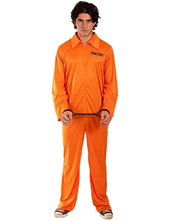 Orange Prisoner Inmate Jumpsuit Overall Fancy Dress Costume Outfit Adult Size UK