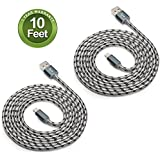 Fenergy 2-Pack Certified Nylon Braided Lightning to USB Cable for iPhone iPad iPod - (10 Feet / 3 Meter)