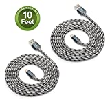 #9: Fleeken 2-Pack Certified Nylon Braided Lightning to USB Cable for iPhone iPad iPod - (10 Feet / 3 Meter)