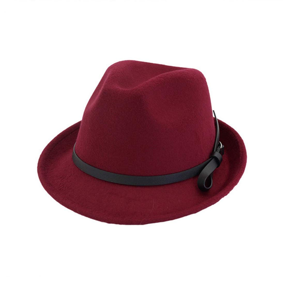 Wool Felt Fedora Hats for Men Women Unisex Classic Roll Narrow Brim Trilby Jazz Hat with Black Leather Belt Buckle