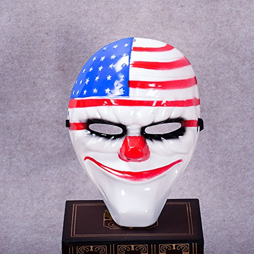 AVOLUTION Full Face Mask Party Payday 2 Cosplay Costume Accessory Cool Resin Clown US Flag Payday2 Theme mask -