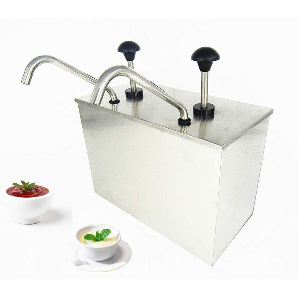 KUNHEWUHUA 2 Bucket Sauce Dispenser Pump Stainless Steel Condiment Pump Station for Salad Jam Seasoning Sauce Squeeze 2 gal (2 Bucket)