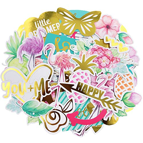 (Scrapbook Stickers,49pcs Cardstock Stickers Floral Stickers Metallic Stickers Masking Stickers for Personalize Laptop Scrapbook Daily Planner and)