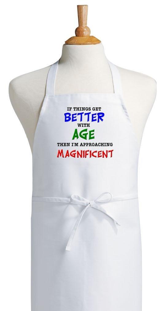 場合Things Get Better With Age面白い誕生日エプロン、ホワイト、フリーサイズ   B004UBSM0U