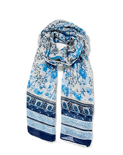 Lulla Collection Women's Shades Of Blue Floral Print Scarf (Shade Lightweights Collection Lightweights)