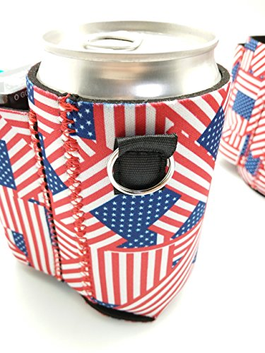 Beer Can Chuggie With Two Pockets - Holds Cigarette And Lighter, Phone, Keys, 3mm Neoprene (American Flag Pattern) (US Flag, 1 Pack)