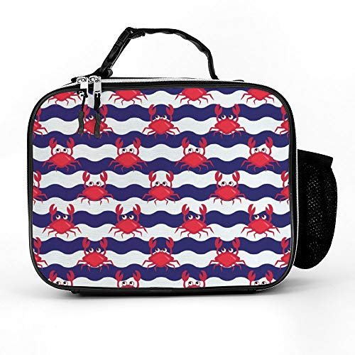 Crabs Water Style Fresh Water Animals Coastal Nautical Themed Art Lunch Box with Padded Liner, Spacious Insulated Lunch Bag, Durable Thermal Lunch Cooler Pack for Boys Men Women Girls Adults