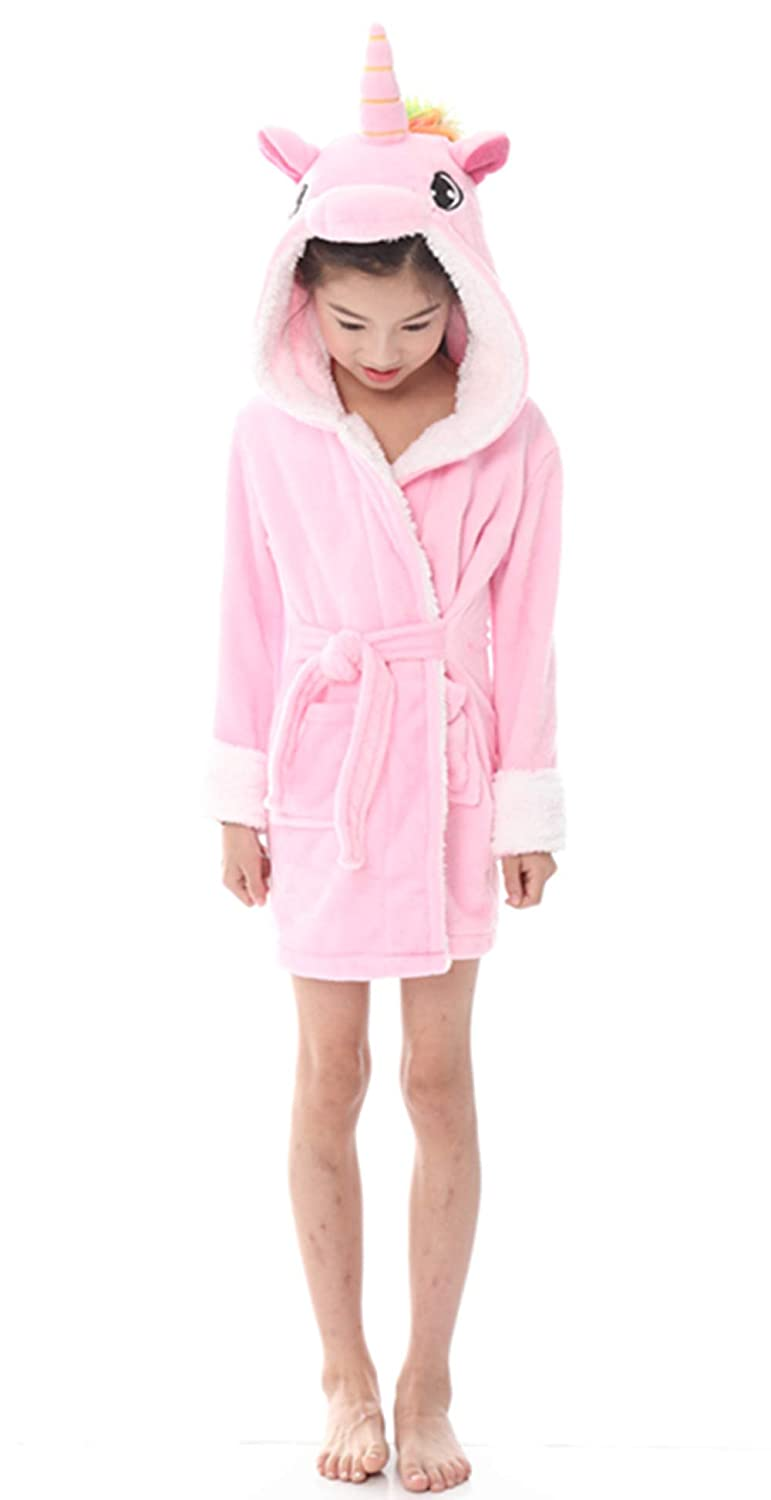Kids Bathrobe Unicorn Pajamas Sleepwear Boys Girls Hooded Robe Loungewear