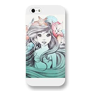 UniqueBox Customized Disney Series Case for iPhone 5 5S, The Little Mermaid iPhone 5 5S Case, Only Fit for Apple iPhone 5 5S (White Frosted Shell)