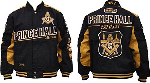 Prince Black Jacket - Prince Hall Mason Divine S7 Mens Twill Racing Jacket [Black - XL]