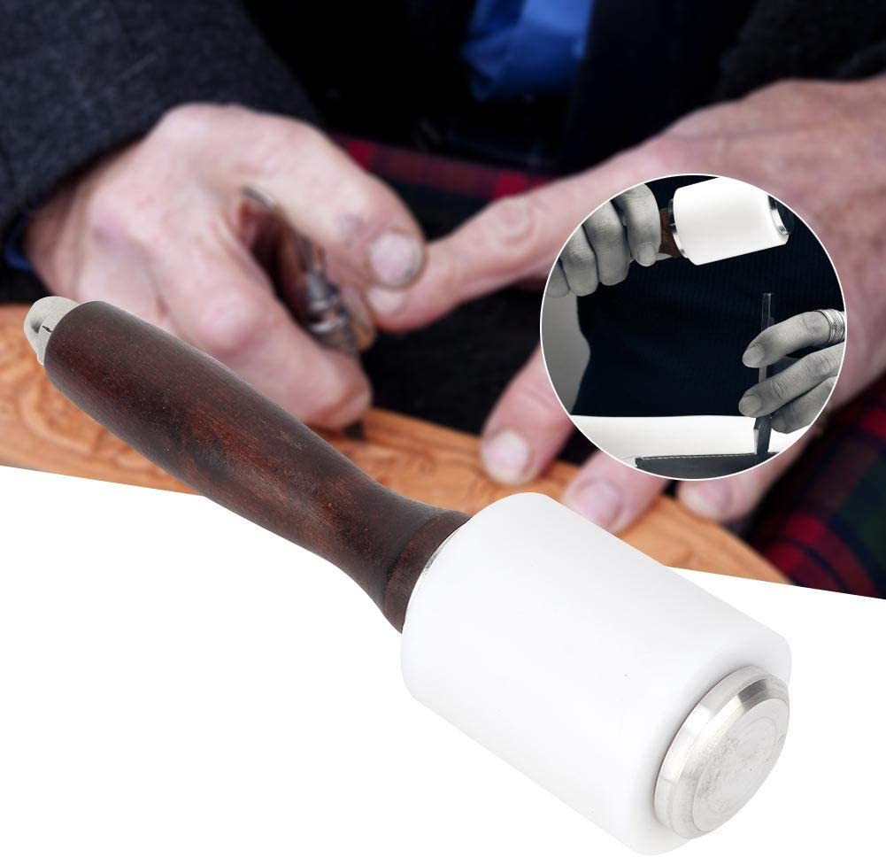 Marteau de poin/çon en cuir professionnel avec maillet en cuir double t/ête Leathercraft avec manche en bois pour lartisanat en cuir de bricolage