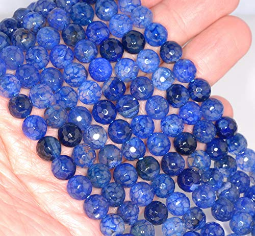 - 8MM Sapphire Blue Dragon Vein Agate Gemstone Faceted Round Loose Beads 14.5
