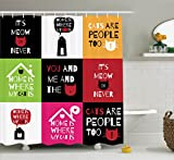 Ambesonne Cat Lover Decor Collection, 'Home is Where My Cat is' Love and Cats Phrases Houses Greeting Cartoon, Polyester Fabric Bathroom Shower Curtain Set with Hooks, Black Pink Red Green