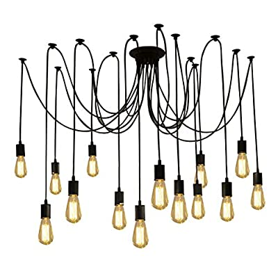 Fuloon DW68 Vintage Edison Multiple Ajustable DIY Ceiling Spider Lamp Pendant Lighting Chandelier Modern Chic Industrial Dining with Romote Control (14 Head Cable 200cm/78.7inch