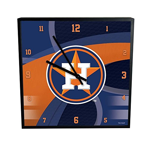 The Memory Company MLB Houston Astros Official Carbon Fiber Square Clock, Multicolor, One Size