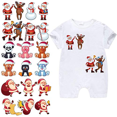 Christmas Patches for Kids Clothes-3 Sets Washable Heat Transfer Iron On Stickers, Appliques with Santa Claus,Snowman,Elk,Animals Patch for DIY T-Shirt,Dress,Bag (Christmas Iron On Transfers For T Shirts)